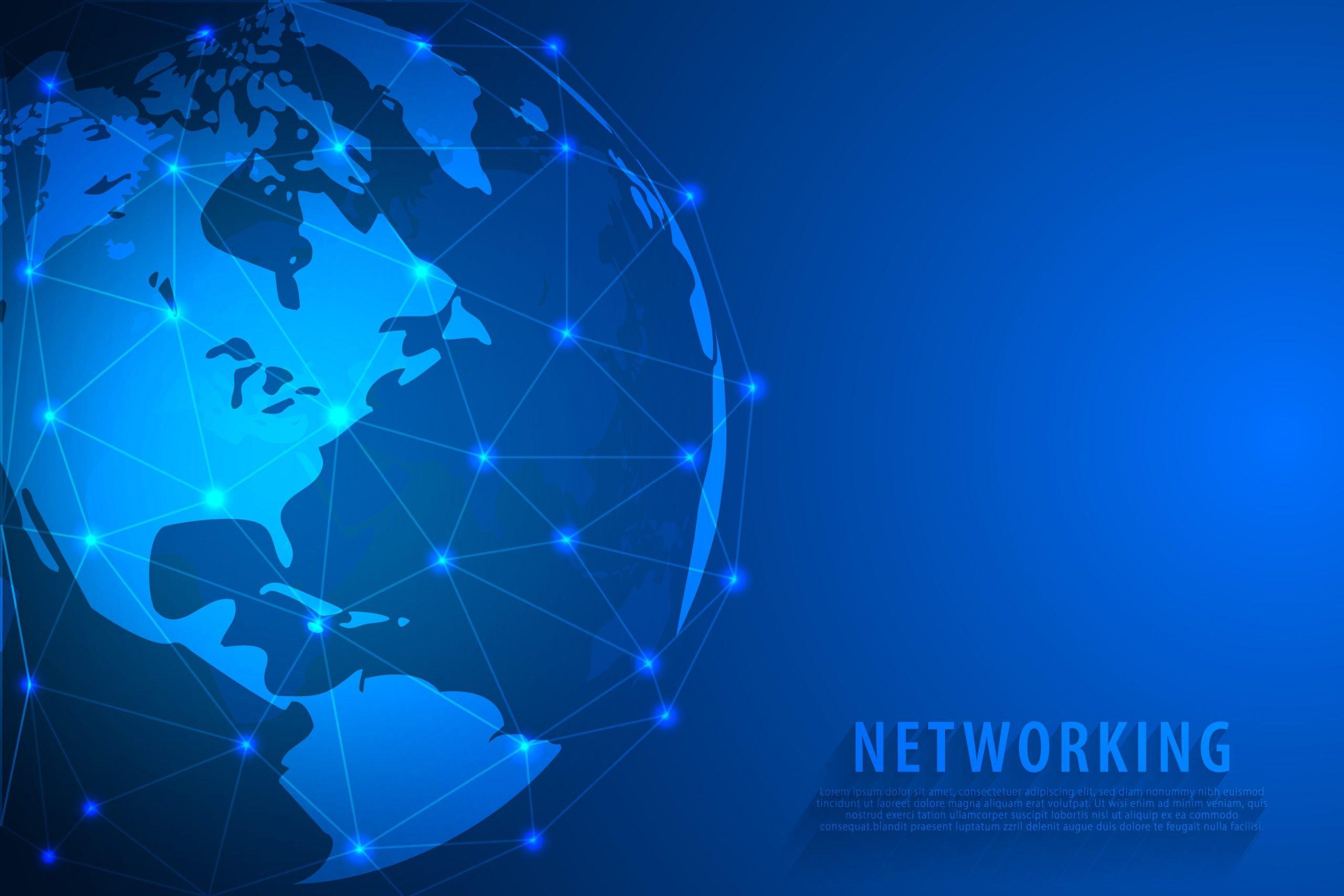 Global network connection background, blue world map, vector, illustration, eps file
